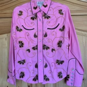 Beautiful Authentic Western Style Pink Blouse SZ M